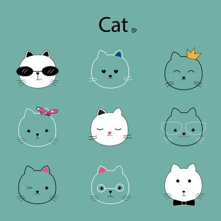 face cat cartoon vector