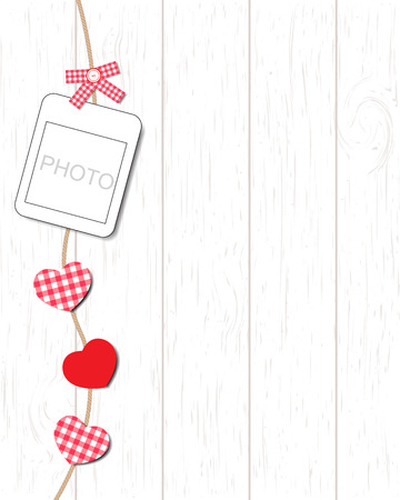 instant photo: Blank instant photo and small red paper heart hanging on the clothesline Illustration