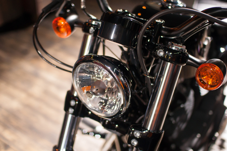 headlights: Headlights of motorcycles in a shop