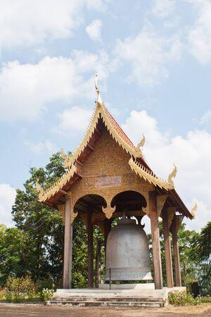 knell: Giant bell tower. Wat Phra towel, Bang Pa Sang, Lamphun Thailand.