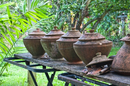 Clay pot for drinking water. Northern Thailand. photo