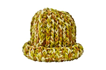 knitten: Multi-colored wool hat on a white background.