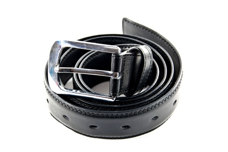 Black leather belt with a metal head  photo