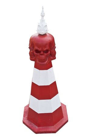 Traffic cones red skulls  Wat Rong Khun is a traffic cone  Chiangrai, Thailand  Stock Photo - 17572535