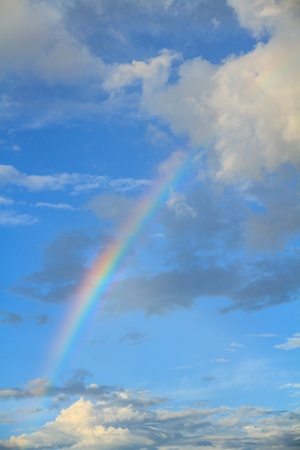 Rainbow, blue sky and white clouds  photo