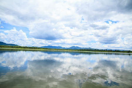 catchment: Blue sky, white clouds and reservoir