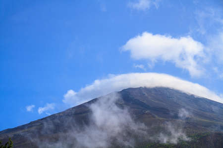 no snow: Mount Fuji during the summer with no snow cover.