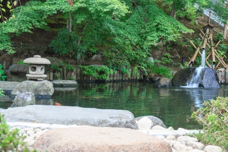 Landscaping and decorate garden japan style, Tokyo, Japan  Standard-Bild