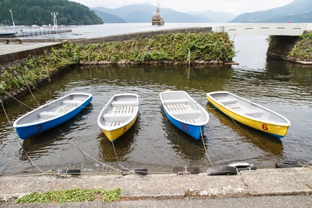 Many small rowing boats tied to the shore line. photo