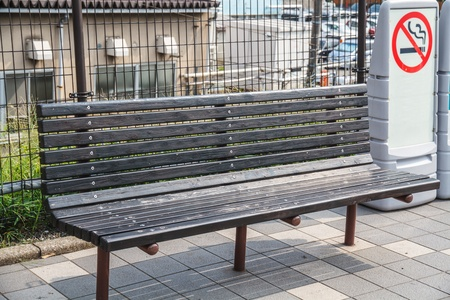 Public benches made ​​of wood, Tokyo, Japan. photo