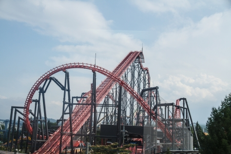 Rollercoaster in amusement park, Tokyo, Japan  photo