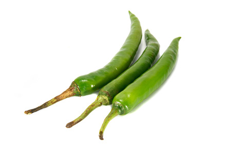 Thai pepper green chilli on white background. photo