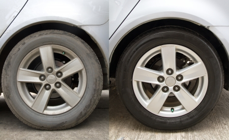 lave: Before and after washing the car clean