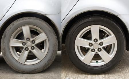 Voor en na het wassen van de auto schoon