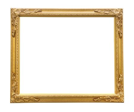 Beautiful golden frame on a white background. photo