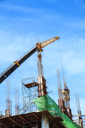 The construction crane building a blue sky background  photo