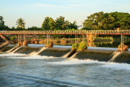 weir: Bridges for crossing rivers and the weir  Stock Photo