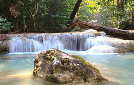Erawan waterfall with emerald green water. Kanchanaburi, Thailand. photo