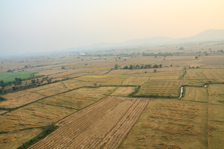 birdeye: Large fields of birdeye view, Kanchanaburi, Thailand. Stock Photo
