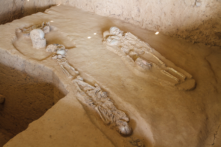 Skeletons of ancient tombs, Kanchanaburi Province, Thailand. photo