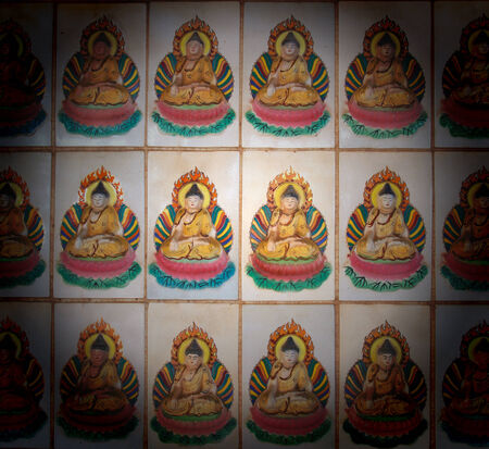 Decorative tiles patterned surface on Buddhism picture. photo