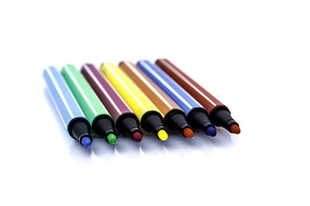 Multicolor Pen on a white background. photo