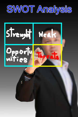 Businessman is writing a concept marketing plan  photo