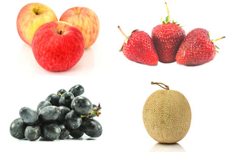 Mix fruit as apple, strawberry, grape and melon on white background  photo