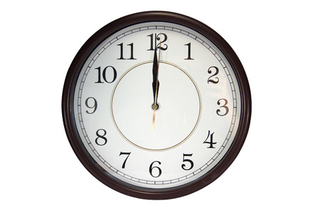 Wall clock show 12 o'clock on a white background.