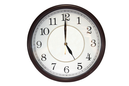pm: Wall clock show 5 pm o'clock on a white background.