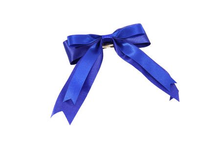 hair tie: Blue bow for hair tie on white background.