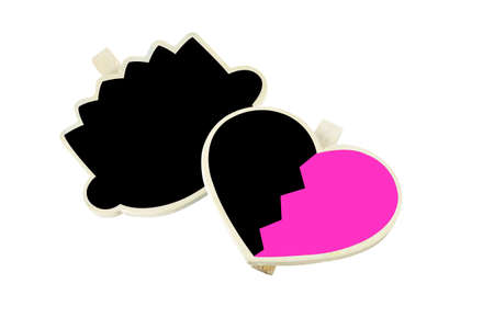 Blackboard head cartoon and pink heart shaped on a white  photo