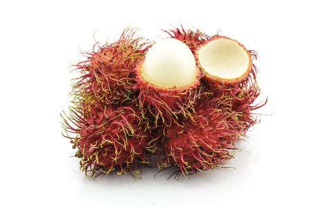 Rambutan fruit with reflex on the white background. photo