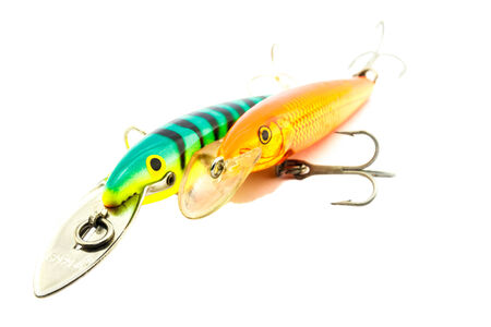 allurement: Artificial bait for fishing on white background.