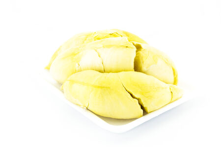 King of fruit: Durian on foam plate on the white background. photo