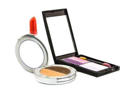 Eye shadow and red lipstick on white background. photo