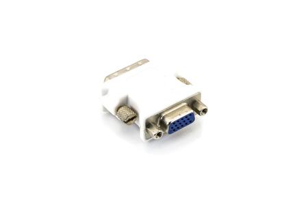 vga: Convertidor adaptador de DVI a VGA en el fondo blanco.