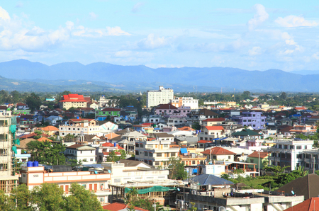 Bird view eye Tachileik City and blue sky, Myanmar. photo
