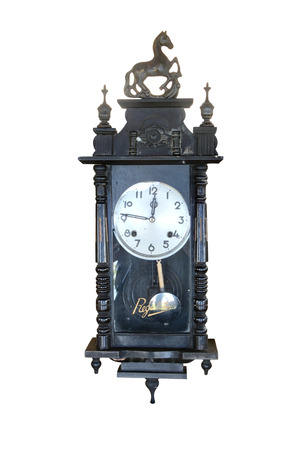 Clock antique on white background, clipping path in picture. photo
