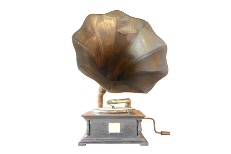 phonograph: Phonograph antique on white background, clipping path in picture.