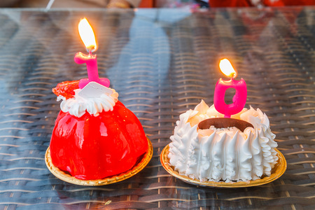 0 1 year: Strawberry cake and White Chocolate cake garnish with the candle number 1 and 0.