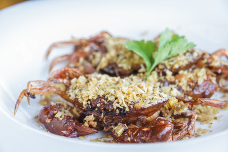 Soft Shell Crab fried with garlic on plate in restaurant. photo