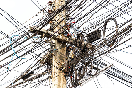 disorganization: Power pole with Tangle of Electrical wires.