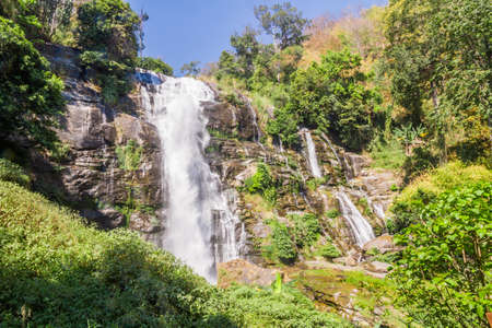 namtok: Vachirathan Waterfall or Namtok Vachirathan and blue sky, Chom thong, Chiang mai, Thailand.
