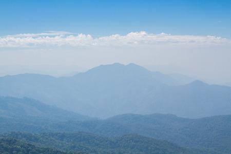 Mountains and skyline on Kew Mae Pan Nature Trail, Doi Inthanon National Park, Chiang mai, Thailand. photo