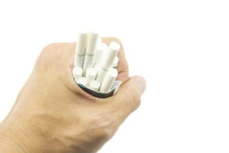 Hand crush cigarette, Stop smoking.  photo