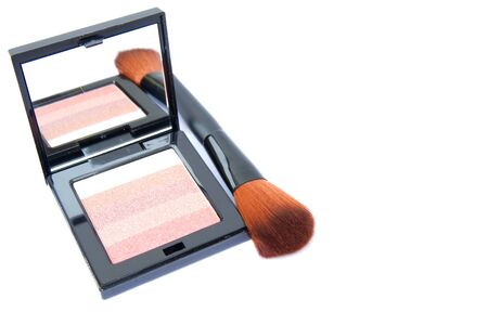 pink and brown: Cosmetic: Eye shadow color pink, brown, and tan isolated on white background. clipping path in picture.