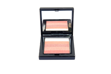 pink and brown: Cosmetic: Eye shadow color pink, brown and tan isolated on white background. clipping path in picture.