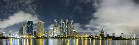 sirikit: Cityscape night panorama shot from Queen Sirikit National Convention Center, Bangkok, Thailand. Stock Photo