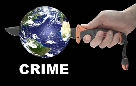 Concept: Hand holding a knife to stab the world. Violence in the world. isolated on black background. photo